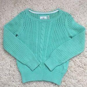 Sea foam green open weave cotton sweater